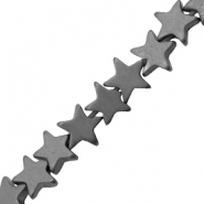 Hematite beads star 4mm Matt Anthracite Grey