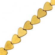 Hematite beads heart 4mm Gold