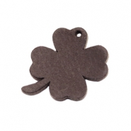 DQ leather charms clover medium Dark Vintage Brown