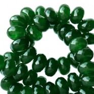 8 mm natural stone faceted beads disc Jade Dark Classic Green