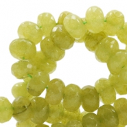8 mm natural stone faceted beads disc Jade Light Olive Green