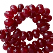 8 mm natural stone faceted beads disc Agate Vintage Red