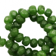 6 mm natural stone faceted beads disc Jade Army Green