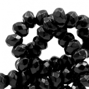 4 mm natural stone faceted beads disc Jade Black