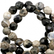 3 mm natural stone faceted beads disc Nature Colours Black Beige