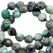 3 mm natural stone faceted beads disc Multicolour Green
