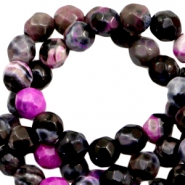 3 mm natural stone faceted beads disc Pink Anthracite