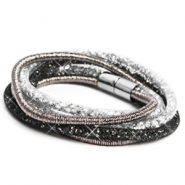 Bracelets double sparkle & shine Black-Silver