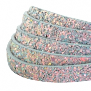 10 mm flat faux leather with glitters Light Blue-Grey