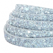 10 mm flat faux leather with glitters Light Blue
