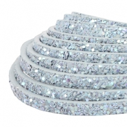 5 mm flat faux leather with glitters Light Blue