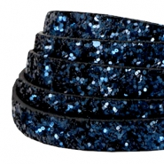 10 mm flat faux leather with glitters Dark Blue