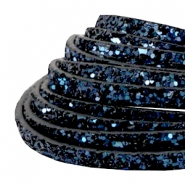 5 mm flat faux leather with glitters Dark Blue