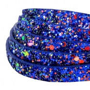 10 mm flat faux leather with glitters Cobalt Blue