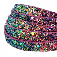 10 mm flat faux leather with glitters Purple Magenta