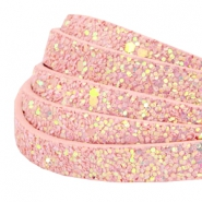 10 mm flat faux leather with glitters Light Vintage Pink