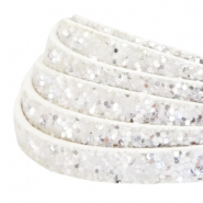 10 mm flat faux leather with glitters White
