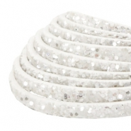 5 mm flat faux leather with glitters White