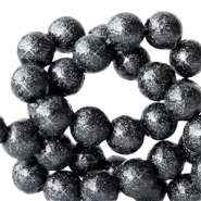 6 mm acrylic beads with glitter Anthracite