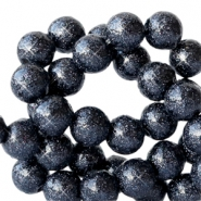 8 mm acrylic beads with glitter Deep Dark Blue