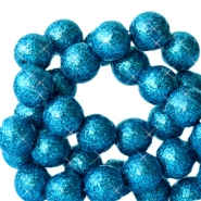 8 mm acrylic beads with glitter Dark Ocean Blue