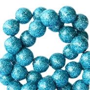 4 mm acrylic beads with glitter Turquoise Blue