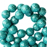 8 mm acrylic beads with glitter Dark Turquoise Green