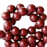8 mm acrylic beads with glitter Port Red