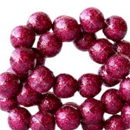 6 mm acrylic beads with glitter Cherish Pink