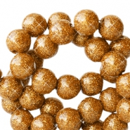 8 mm acrylic beads with glitter Ginger Golden Red