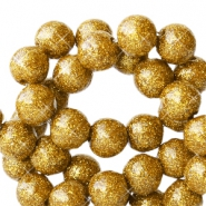 6 mm acrylic beads with glitter Gold