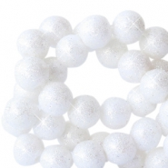 4 mm acrylic beads with glitter White