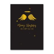 Jewellery cards Christmas angel wings Black-Gold
