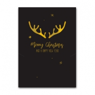 Jewellery cards Christmas reindeer Black-Gold