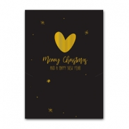 Jewellery cards Christmas heart Black-Gold