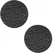 DQ leather cabochons 12mm Midnight Black