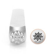 ImpressArt design stamps ship wheel 6mm Silver