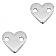 DQ metal charms connector heart Antique Silver (Nickel Free)