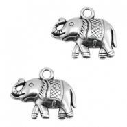 DQ metal charms elephant Antique Silver (Nickel Free)