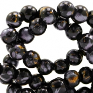 8 mm glass beads gold foil look Black Gold-Grey