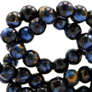 8 mm glass beads gold foil look Black Gold-Blue