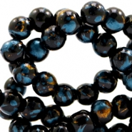4 mm glass beads gold foil look Black Gold-Blue Zircon