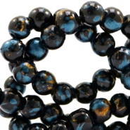 8 mm glass beads gold foil look Black Gold-Dark Turquoise Blue