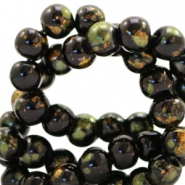 8 mm glass beads gold foil look Black Gold-Olive Green