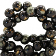 4 mm glass beads gold foil look Black Gold-Olivine Green
