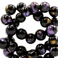 4 mm glass beads gold foil look Black Gold-Purple
