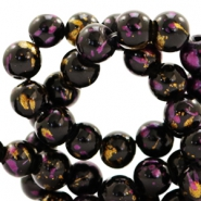 4 mm glass beads gold foil look Black Gold-Cherish Pink