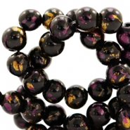 4 mm glass beads gold foil look Black Gold-Aubergine Purple