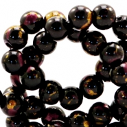 6 mm glass beads gold foil look Black Gold-Auburn Brown