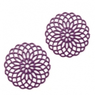 Bohemian charms 15mm round Aubergine Purple
